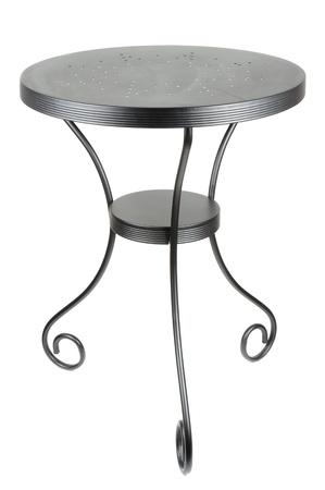 Elegant Round Black Table Isolated on White Background photo
