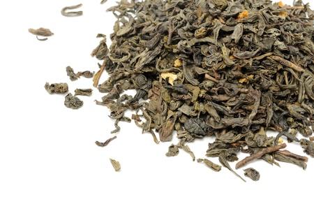 Loose Green Tea on White Background Stock Photo - 11418632