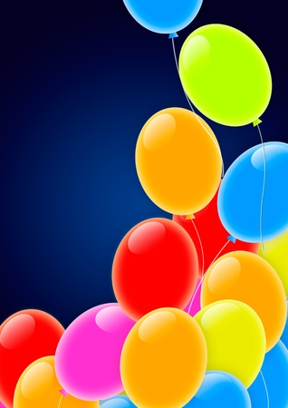 Multicolored Party Balloons Flying into the Sky Stock Photo - 11418668