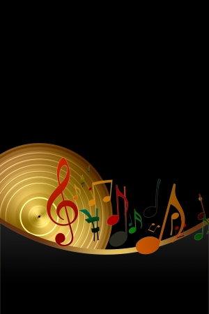 Golden Disk and Music Notes on Black Background photo