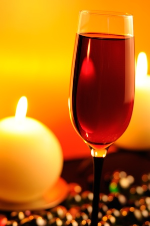 Romantic Evening in Restaurant with Red Wine and Burning Candles Stock Photo - 11622160