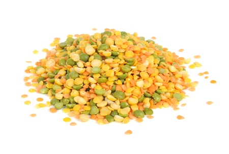 Lentils and Split Peas Mix Isolated on White Background photo