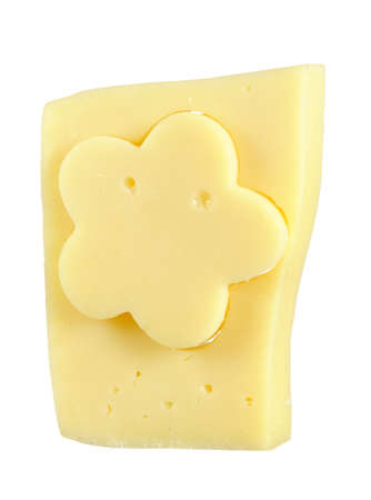 Cheese Flower in Rectangular Piece of Cheese photo