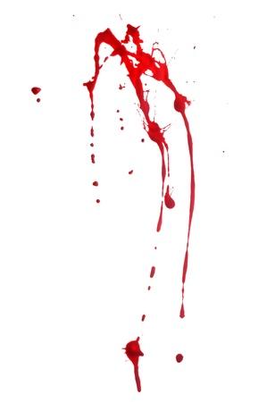 spatters: Spruzzi di vernice rossa su sfondo bianco