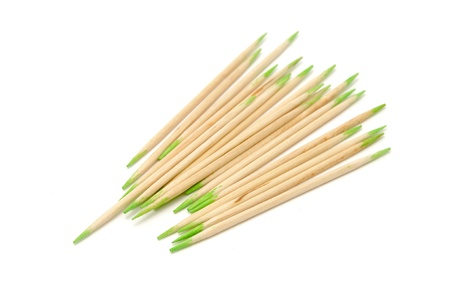 tip up: Mint Flavored Toothpicks Isolated on White Background Stock Photo