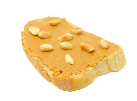 allergic foods: Peanut Butter Sandwich with Peanuts Isolated on White Background Stock Photo