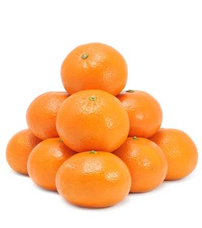Pile of Tangerines Isolated on White Background Stock Photo - 11805426