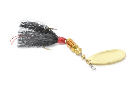 Rooster Tail Fishing Spinner (Spoon Lure) Isolated on White Background photo