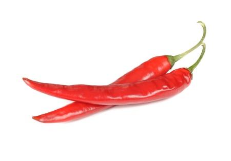 papryczki: Spicy Red Chili Peppers izolowanych na biaÅ'ym tle Zdjęcie Seryjne