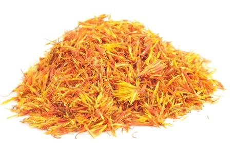 ersatz: Pile of Safflower (Substitute for Saffron) Isolated on White Background
