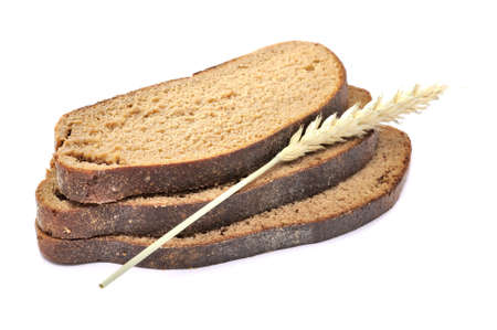 everyday: Slices of Brown Bread with Ear Isolated on White Background