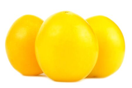 prunus cerasifera: Yellow Cherry Plums Close-Up Isolated on White Background