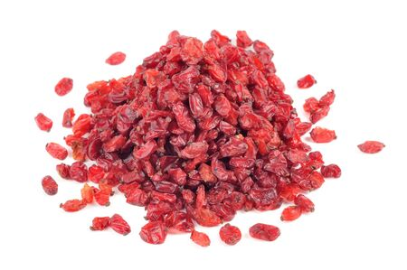 barbery: Dried Barberry Berries Isolated on White Background