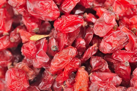 barbery: Dried Barberry Berries Close-Up Stock Photo
