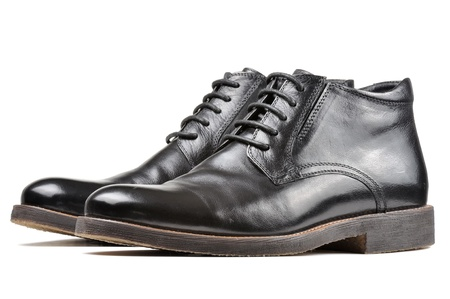 mens shoes: Men Classic Black Leather Shoes Isolated on White Background