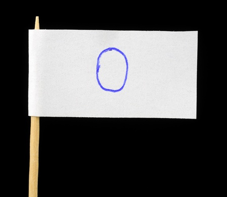 Handwritten Number Zero on Paper Flag on Black Background photo