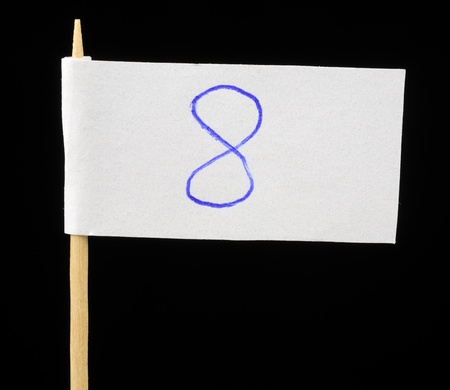 Handwritten Number Eight on Paper Flag on Black Background photo