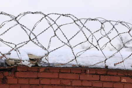 repression: Barbed Wire on Brick Fence Stock Photo