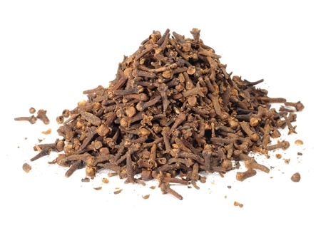 clove of clove: Pile of Cloves Isolated on White Background Stock Photo