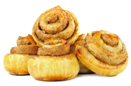 buns: Sweet Cinnamon Rolls Isolated on White Background