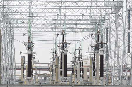 electricity substation: Electric Power Transformers at Thermal Power Plant Stock Photo