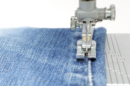 Sewing Machine and Jeans Fabric photo