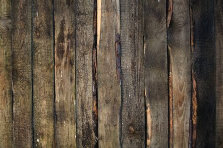 Dark Brown Wall of Old Wood Planks as Background photo