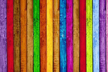 multi coloured: Vibrant Painted Wood Planks as Background Stock Photo