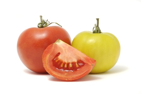 Red and Green Tomato Isolated on White Background photo