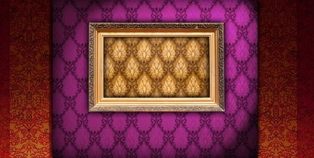 Picture Frame on Vintage Wallpaper photo