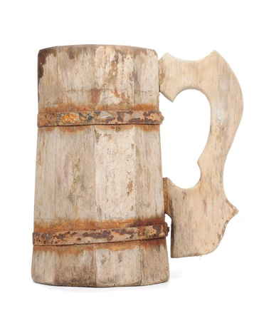 Old Vintage Wooden Mug Isolated on White Background photo