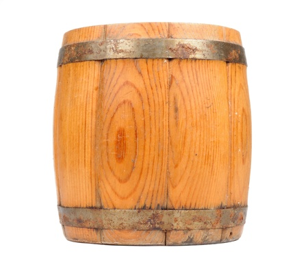 Wooden Barrel Isolated on White Background photo