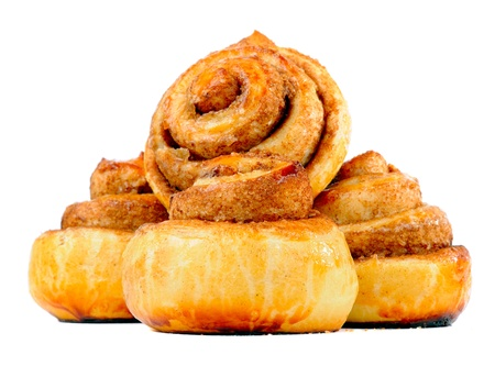 Sweet Cinnamon Buns Isolated on White Background Stock Photo