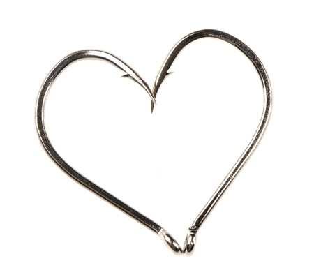 Heart Shape Made of Two Fish Hooks Stock Photo - 14075928