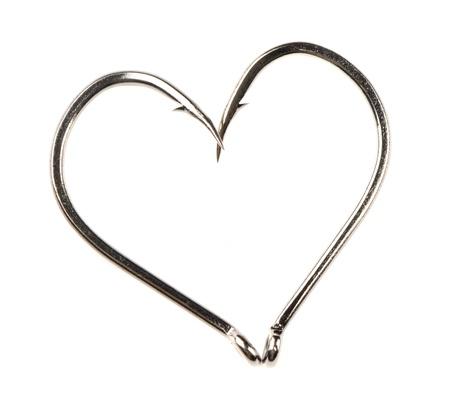 Heart Shape Made of Two Fish Hooks photo