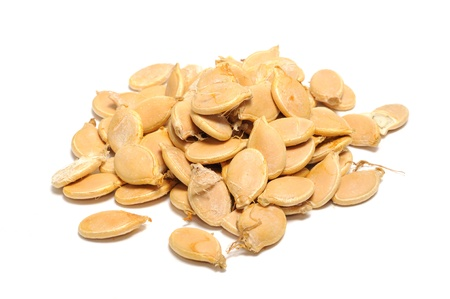 Pumpkin Seeds (Pepitas) Isolated on White Background Stock Photo