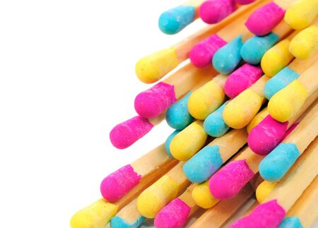 Multicolored Matches on White Background photo