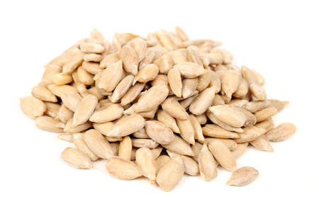 Sunflower seeds: Shelled Sunflower Seeds Isolated on White Background Stock Photo
