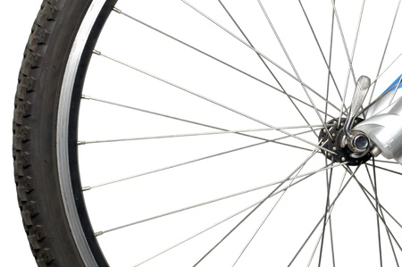 spoke: Bicycle Wheel on White Background Stock Photo