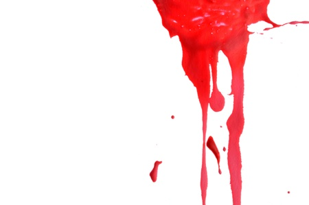 dripping paint: Red Paint Dripping Down a White Background