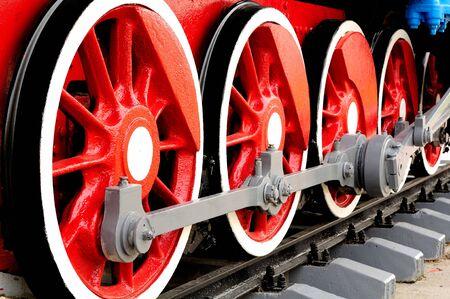 railway history: Wheels of Steam Locomotive Stock Photo