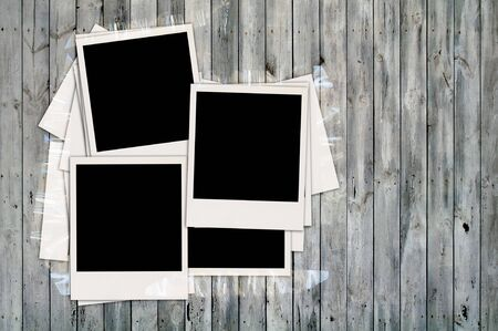 recollections: Blank Photos on Wooden Wall