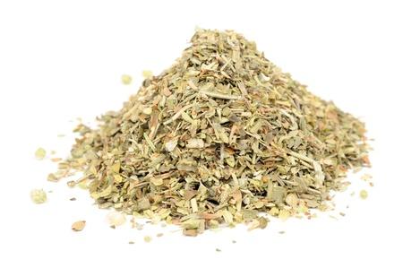 flores secas: Herbes de Provence (mezcla de hierbas secas) aislado en el fondo blanco Foto de archivo