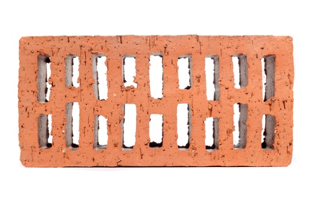Red Perforated Brick Isolated on White Background photo