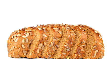 Sliced Bread with Sunflower Seeds Isolated on White Background photo