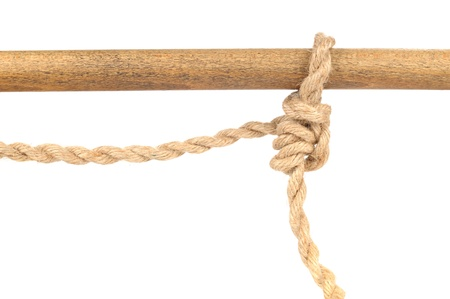 bonding rope: Jute Rope with Adjustable Grip Hitch Knot on White Background