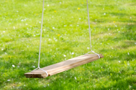 Empty Wooden Garden Swing Stock Photo - 16015785
