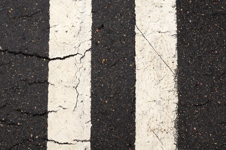 road marking: White Double-Line Markings on Road Stock Photo