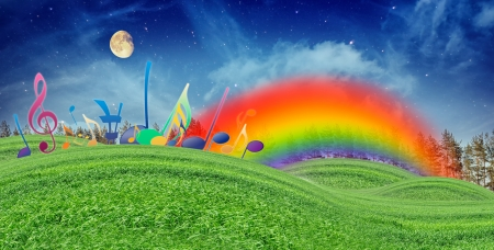 rainbow music: Music Notes, Rainbow and Moon in Blue Sky over Green Hills