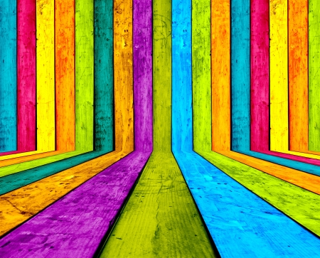 Creative Multicolored Wooden Room as Background Zdjęcie Seryjne - 16213153